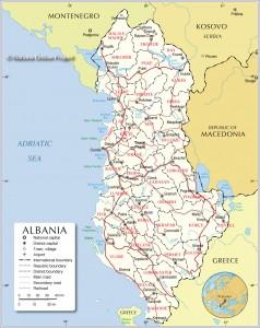 Harta rrugore dhe Administrative e Shqiperise