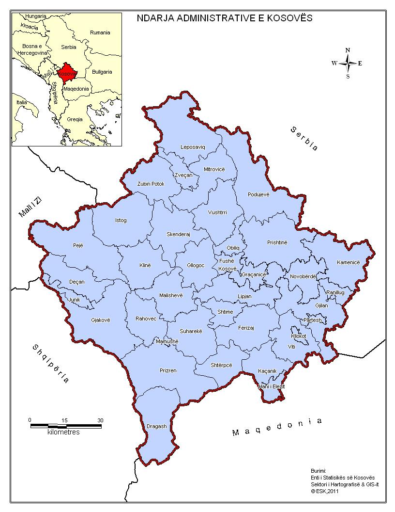Harta Administrative e Kosoves Harta e Kosoves