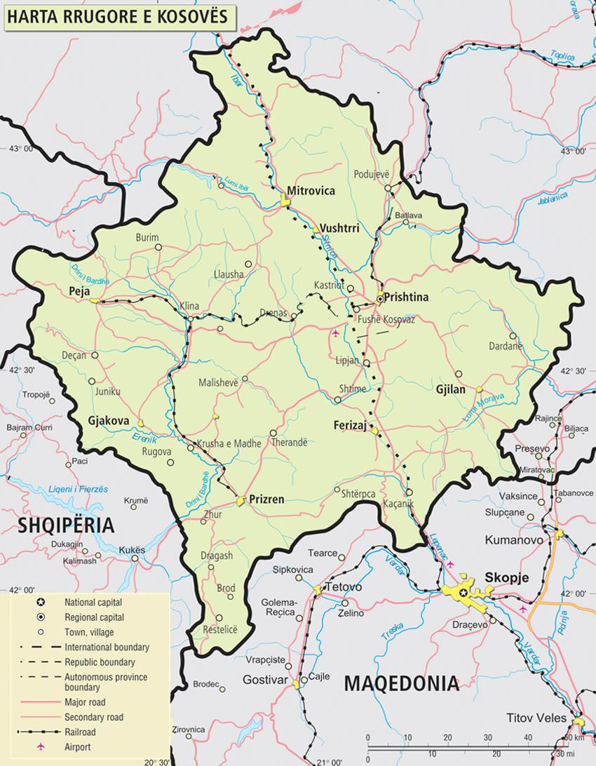 Harta Rrugore e Kosoves