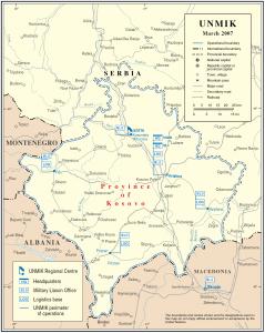 Harta e UNMIK per kosoven
