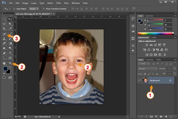 Si te heqesh syte e kuq me photoshop - Hapi 1