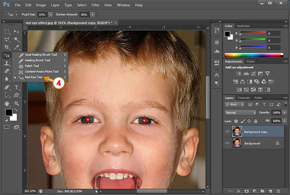 Si te heqesh syte e kuq me photoshop - Hapi 2