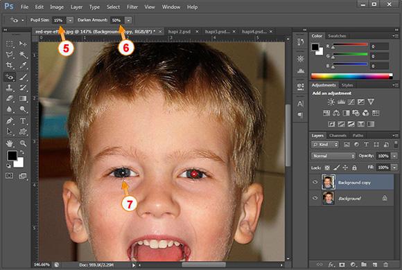 Si te heqesh syte e kuq me photoshop - Hapi 3