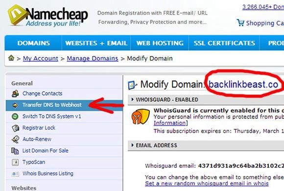 Klikojme Transfer DNS to Webhost