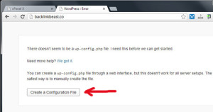 Krijojme file e konfigurimit te wordpress