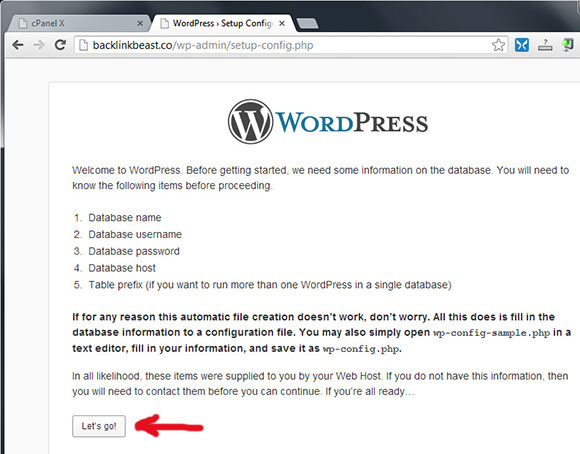 Shtypim Lets go per te instaluar wordpress