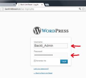 Vendosim username dhe password